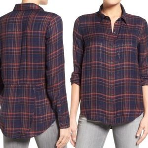 Lucky Brand | Blue Metallic Plaid Button Up Shirt